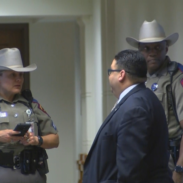DPS troopers during a partial evacuation of the Texas Capitol complex on Oct. 30, 2018