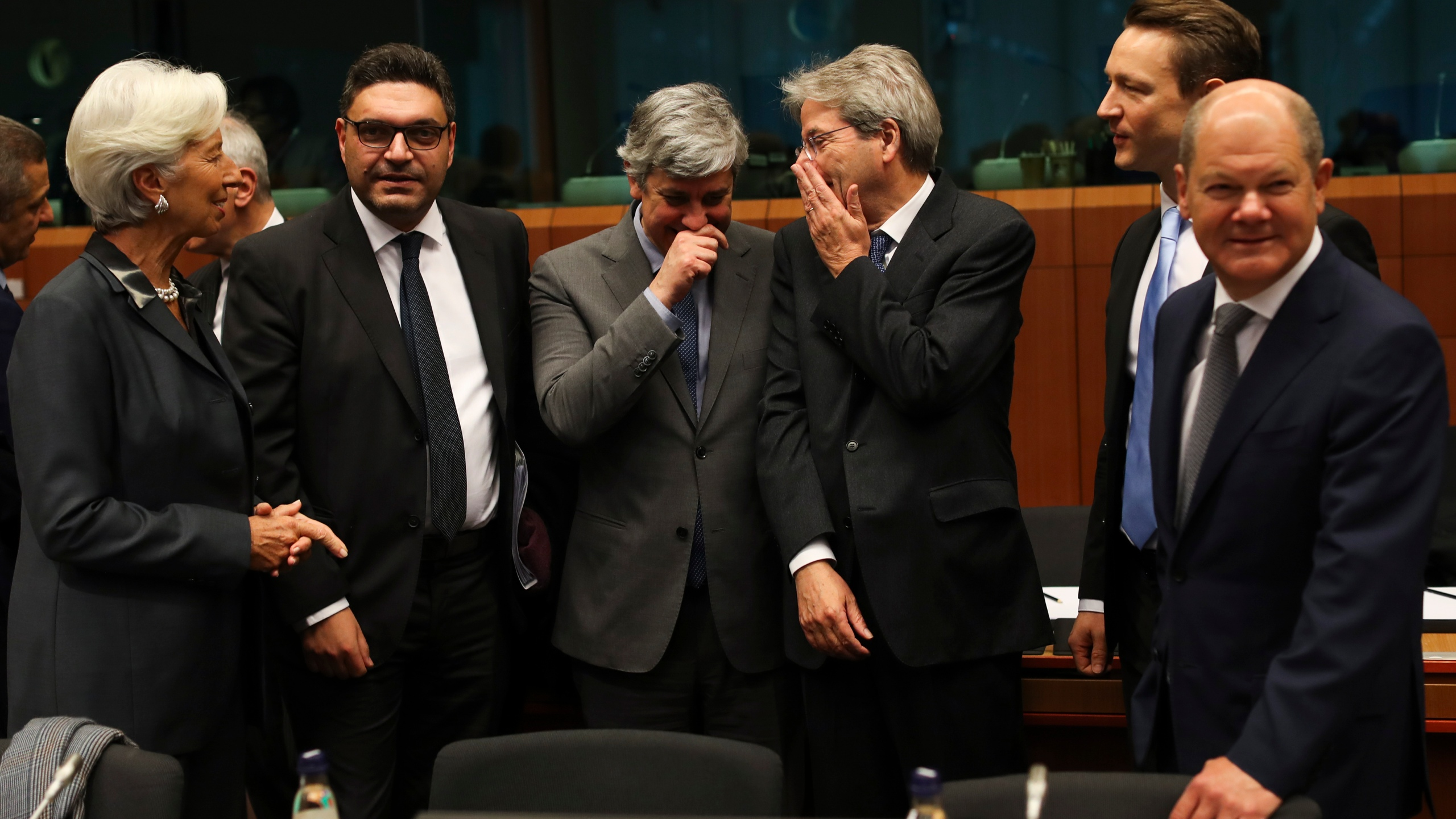 Christine Lagarde, Constantinos Petrides, Mario Centeno, Paolo Gentiloni, Gernot Blumel, Olaf Scholz